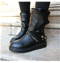 & Concise Flat Heel Black Coppy Leather Martin Boots