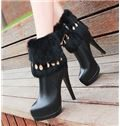 2013 New Arrival Black Metal Chain High Heel Boots