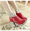 2013 New Arrival Contrast Colour Round Toe Side Zipper Amkle Boots