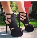 2014 Black Suede Ankle Strap High Heel Shoes