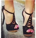 2014 Black Suede Cut-Outs Ankle Strap High Heel Sandals