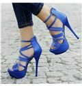 2014 Blue Coppy Leather Cut-Outs High Heel Sandals