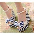 2014 Blue Upper Wedge Heels Peep Toe Sandals for Women