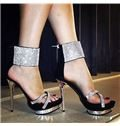 2014 Contrast Colour Rhinestone High Heel Sandals