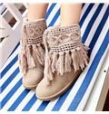 2014 Fancy Synthetic Snow Boots With Hand-woven wool Tassels