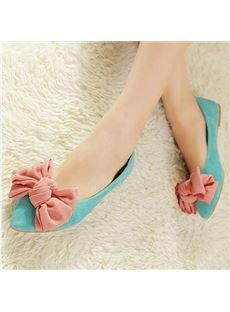 2014 New Arrival Contrast Colour Lovely Bowtie Flat Heel Shoes