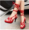2014 New Arrival Sexy Lace-Up Platform High Heel Sandals