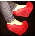 2014 Red Suede Wedge Heel Rivets High Heel Shoes