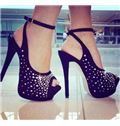 2014 Rhinestone Peep Toe High Heel Sandals