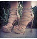 2014 Snake Skin Cut-Outs High Heel Sandals