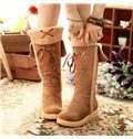 2014 Sweet Lace-Up Knee High Snow Boots