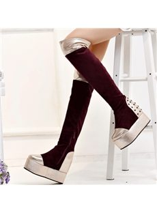 Absorbing Rivets Contrast Color Knee High Boots