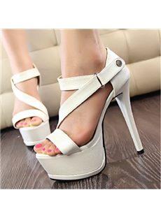 Admirable PU Cut-Outs Platform Sandals