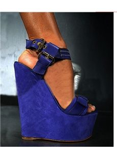 Admirable Sexy Suede Buckle Wedge Sandals