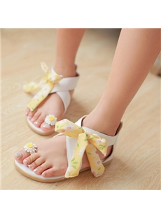Amazing Flower Print White Lace-Up Flat Sandals