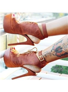 Amazing Lace-Up Peep-Toe Platform Sandals
