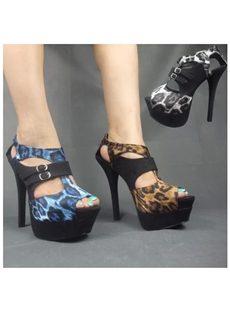 Amazing Leopard Cut-Outs Peep-Toe Platform Sandals