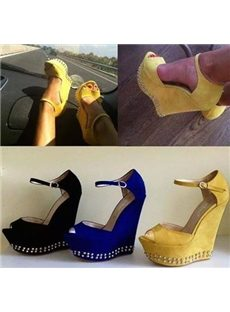 Amazing Pretty Girl Wearing Peep-toe Wedge Sandals