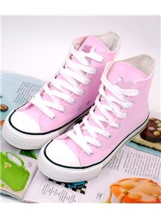 Appealing Candy Color Lace-up  High-top Canvas Shoes