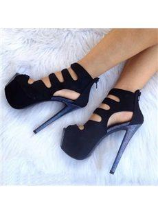 Appealing Solid Color Cut-Outs Platform Sandals
