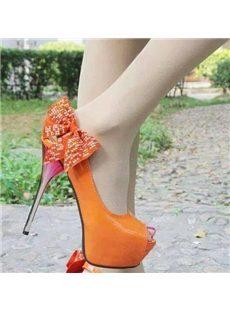 Attractive Bowknot Peep-Toe Heels