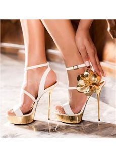 Attractive Coppy Leather Flower Dress Sandals