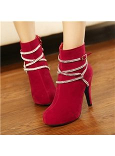 Attractive Rhinestone High Heel Ankle Boots