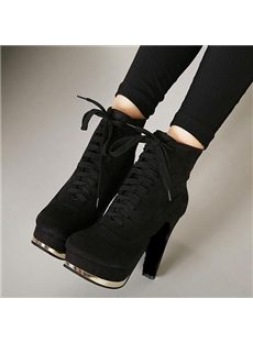 Attractive Suede Crisscross Lace-up Chunky Boots