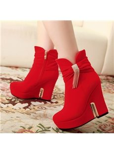 Attractive Tassel  Round Toe Wedge Heels Ankle Boots