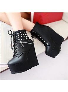 Awesome High Heels Boots With Rivets & Zipper