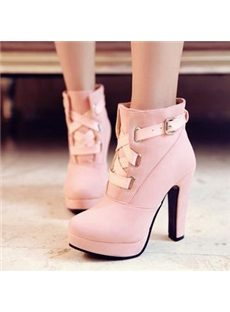 Beautiful Ankle Boots With Strap Buckle
