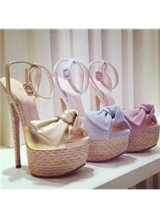 Beautiful Bowknot Coppy Leather Ankle Strap Dress Sandals
