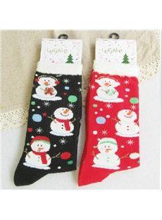Beautiful Snowman Print Feather-edge Christmas Socks