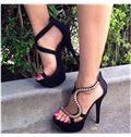 Black Coppy Leather Rhinestone Dress Sandals
