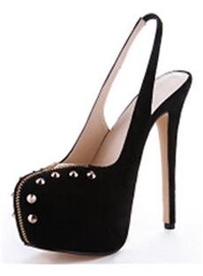 Black Platform Rivet Decorated Stiletto Heels