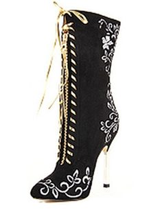 Black Print Lace-Up Stiletto Heels Boots