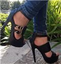 Black Suede Cut-Outs Ankle Strap High Heel Sandals