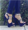 Blue Suede Cut-Outs High Heel Sandals with Rhinestone