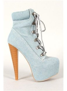 Brand New Denim Lace-Up Ankle Boots