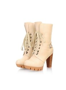 Breathtaking Beige Round Toe Lace-up Chunky Heels Ankle Boots