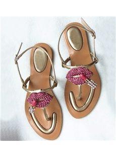 Breathtaking  Rhinestone Lips Print Ankle Strap PU Flat Sandals