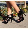 Brilliant Black Suede Cut-Outs Flower Dress Sandals