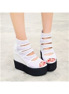Brilliant Cut-Outs PU Wedge Sandals