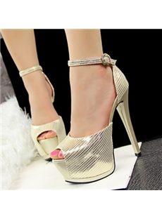 Brilliant Peep-Toe Ankle Strap Platform Sandals