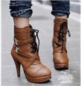 Bronw Coppy Leather Side Buckle & Lace-Up High Heel Boots