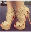 Camel Coppy Leather Cut-Outs High Heel Sandals