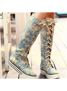 Casual Floral Print Lace-Up Knee High Boots