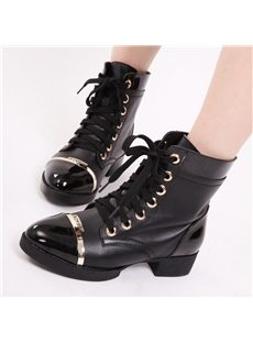 Casual Lace-Up Metal Ankle Boots
