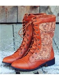 Casual Leather Lace Print Mid Calf Flat Boots