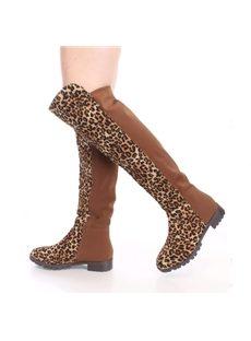 Casual Leopard Print Knee High Flat Boots